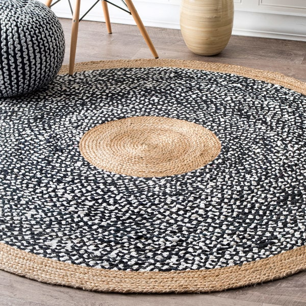 R NuLOOM Causal Natural Fiber Jute And Cotton Token Black Round Rug  8u0026x27