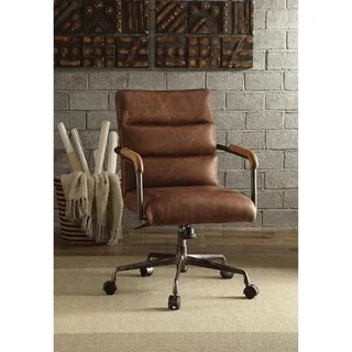 ACME Harith Executive Office Chair Retro Brown Top Grain Leather Brown Leather Desk Chair Overstockcom44