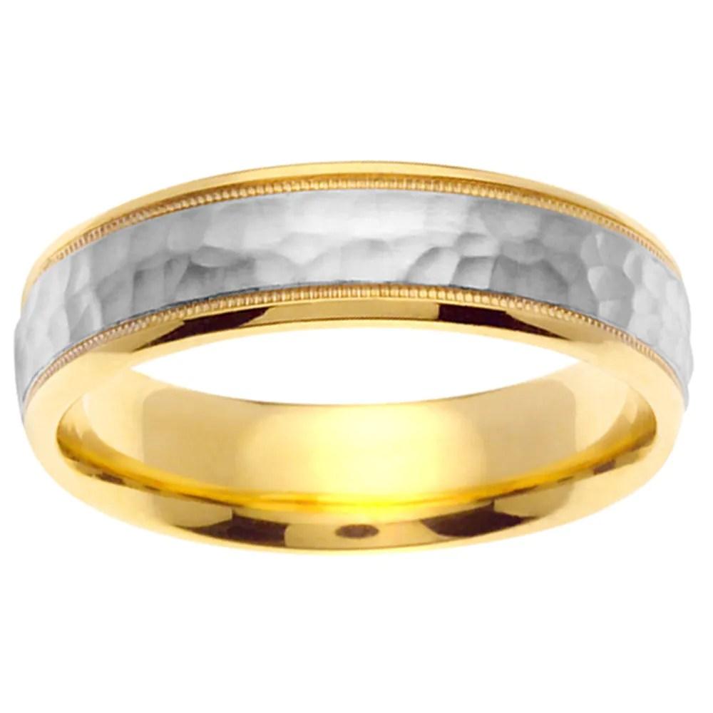 hammered wedding ring tungsten hammered wedding band Hammered wedding ring 14k Two Tone Gold Men S Hammered Wedding Band