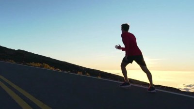 Runner Man Sprinting Running Fast On Road At Sunset. Male ...