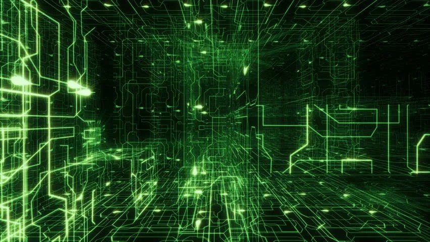 Flying Over A Magic World, Green Lights. Futuristic Abstract Background. Loopable. Technology ...