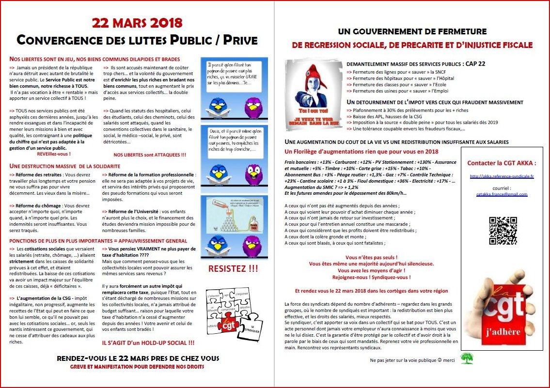 22 MARS 2018 CONVERGENCE DES LUTTES PUBLIC / PRIVE