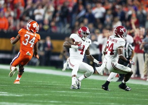 Crimson Tide safety Eddie Jackson makes an interception. (Kent Gidley/UA Athletics)