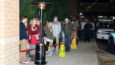 Fans wait in line outside of Academy Sports in Hoover. (Solomon Crenshaw Jr./Alabama NewsCenter)