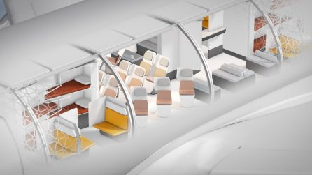 Conceptual cutaway of a Transpose-enabled aircraft, loaded with modular passenger experiences. (A3)