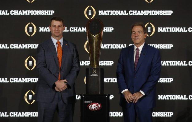 Clemson head coach Dabo Swinney, left, and Alabama head coach Nick Saban at the joint press conference Sunday. (UA Athletics)