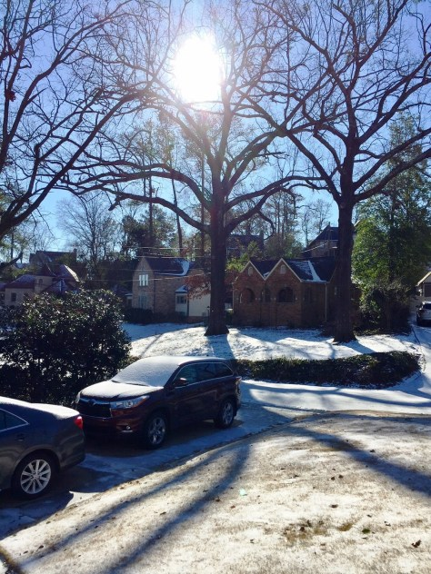 The sky is blue and the ground is white in Homewood on Saturday. (Bob Blalock/Alabama NewsCenter)