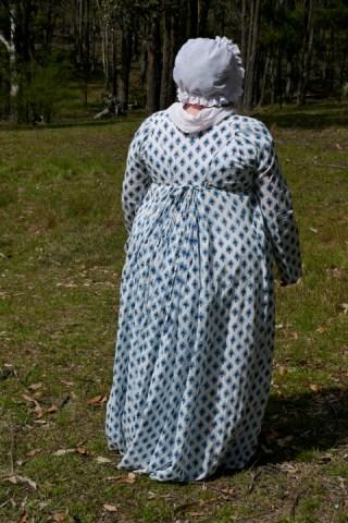 Back view of block-print dress