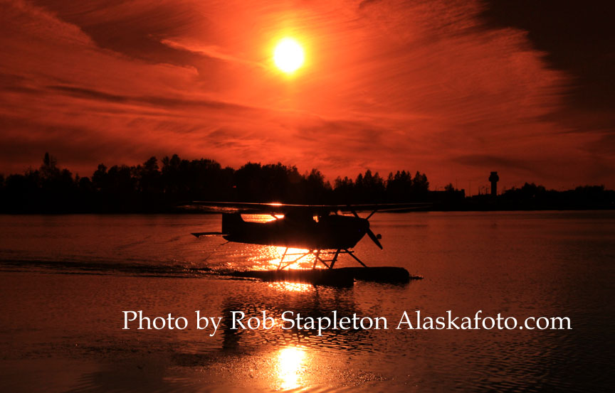 Alaska, Anchorage, Lake Hood Seaplane Base, aviation photography