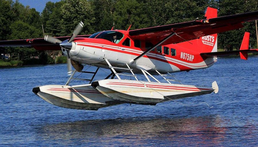 Rust's Cessna 208 on floats landing.