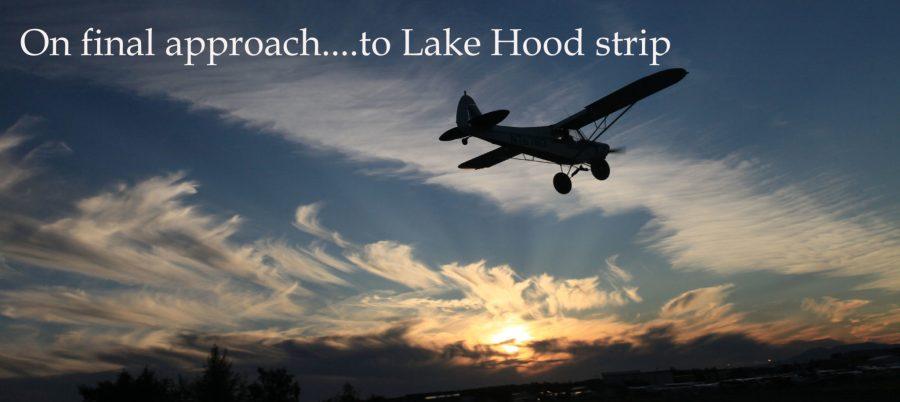 Cub landing at Lake Hood in a sunset.