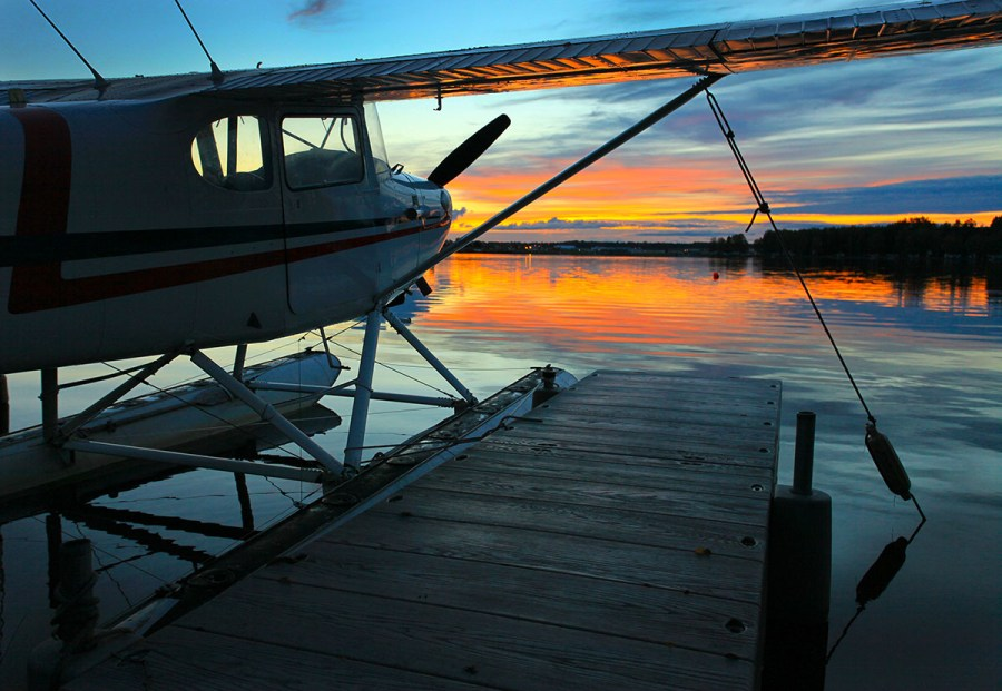 Sunset and float plane. Photo by Rob Stapleton