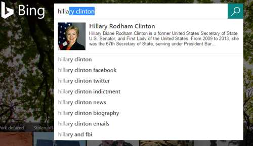 Bing Search Form for Hillary
