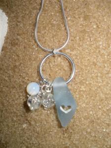 "Cornflour Blue Sea Glass with ""Scottish Sweetheart"" Hole"