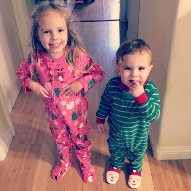 New jammies! They wear them every night and will until they don't fit anymore. Which is almost upon us. They are growing at a faster pace these days.