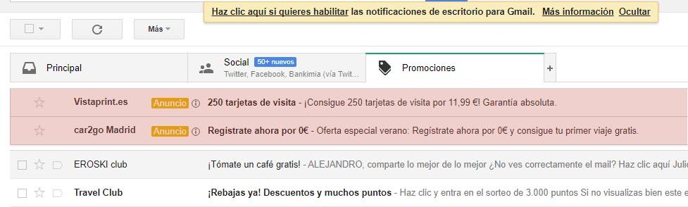 ejemplo de anuncio en Gmail Ads