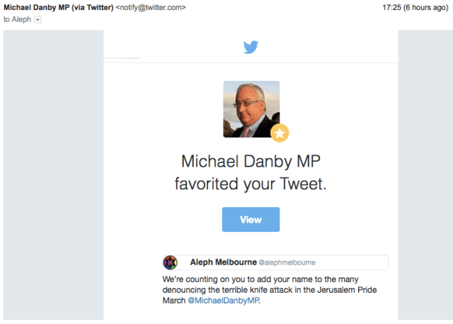 Michael Danby Twitter favourite re Jerusalem attack