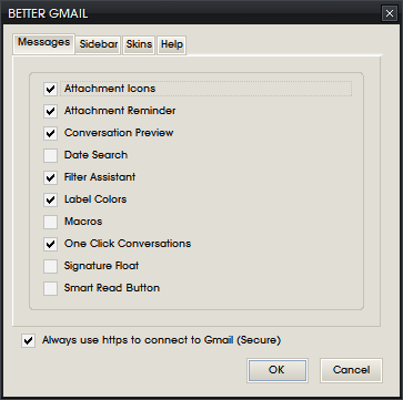 Better Gmail options windows