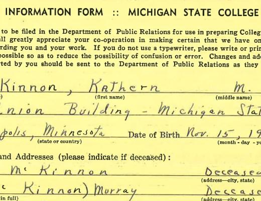 Kathern McKinnon's Michigan State College Employee Record | Alex Inspired