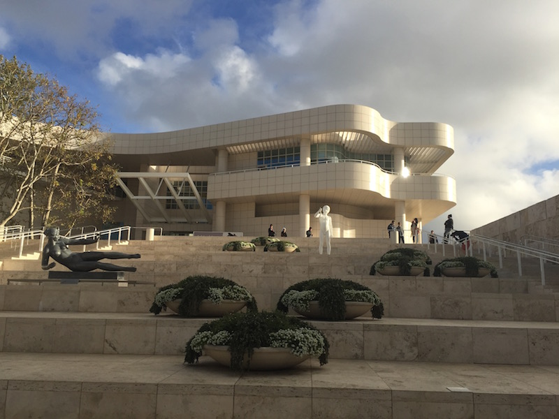 Image of the Getty Museum from the bottom of the main steps