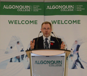 Claude Brule presents the International Strategic draft plan at the town hall meeting on Nov. 8. This plan was conducted by Algonquin about their plans to attract international students and expand overseas.