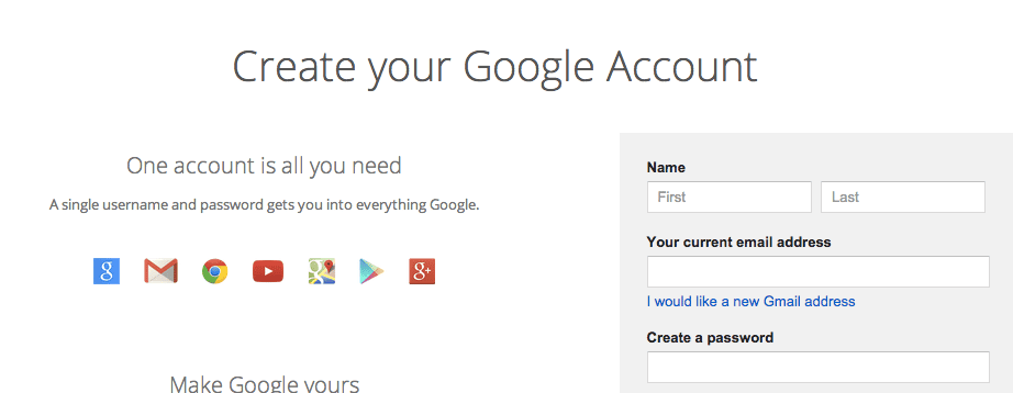 how to get a google email account