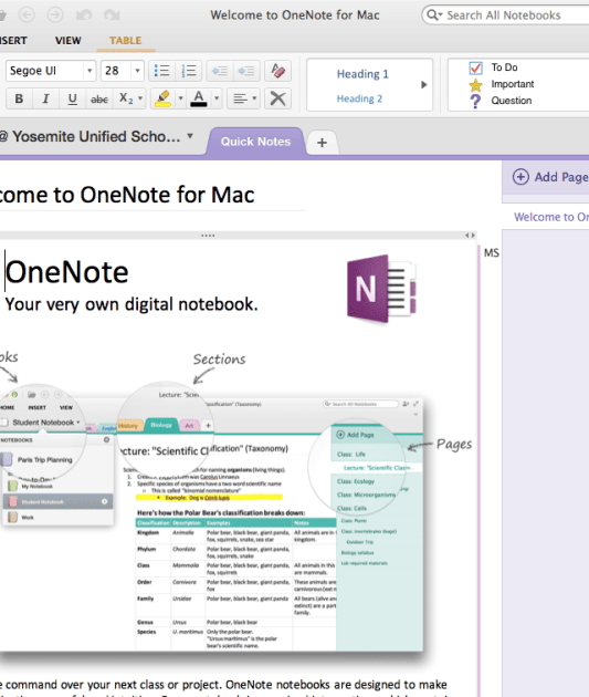 OneNote on the Mac