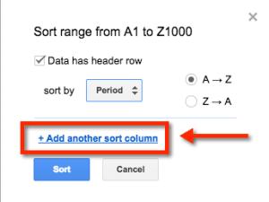 Google Sheets sort columns