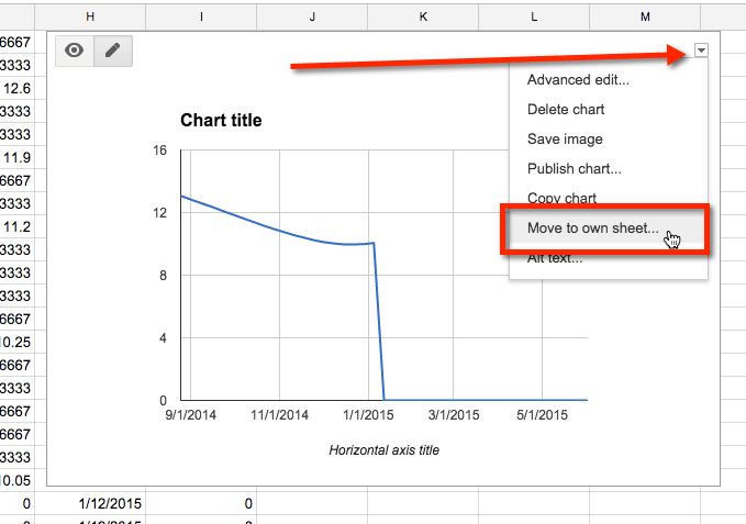 Google Sheets move chart to own sheet