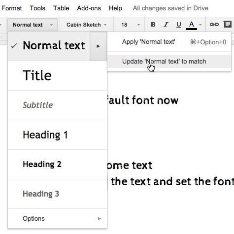 Google docs set the normal text