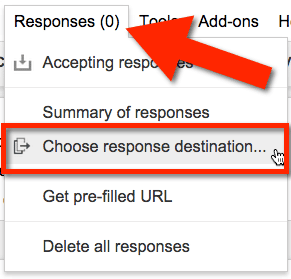 Google Forms Choose Response Destination