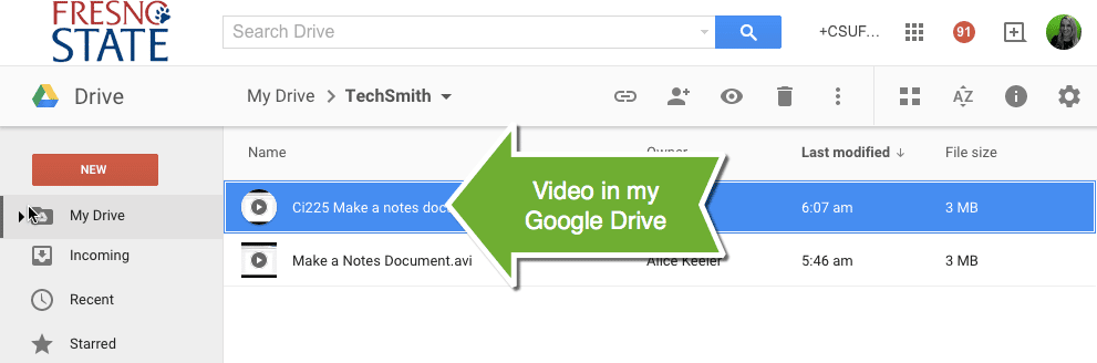 video in google drive