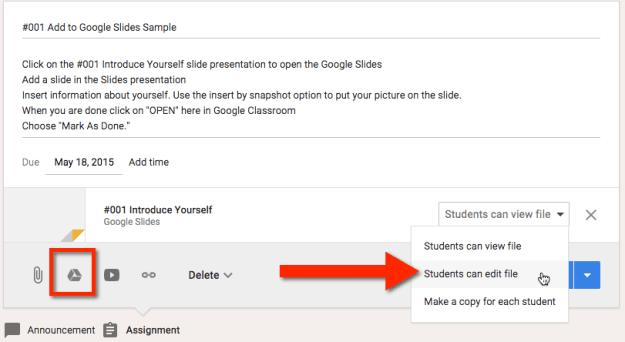 Google Classroom Insert an Assignment
