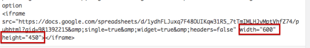 modify the embed code to include height and width
