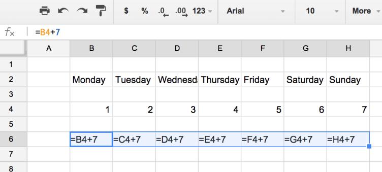 Show formulas of plus seven