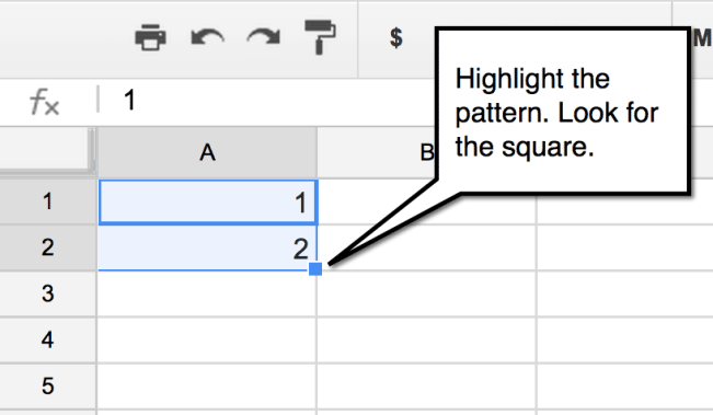 google sheets fill down square