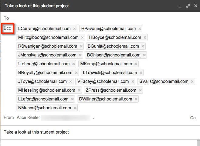 Place email addresses under BCC