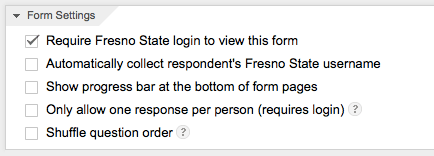 Google Form Settings