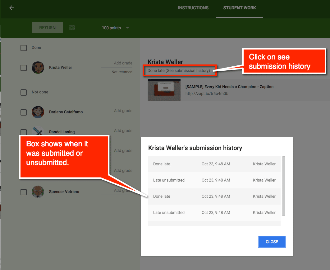 Google Classroom submission history