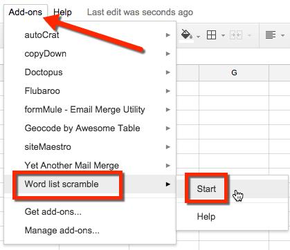 Word List Scramble