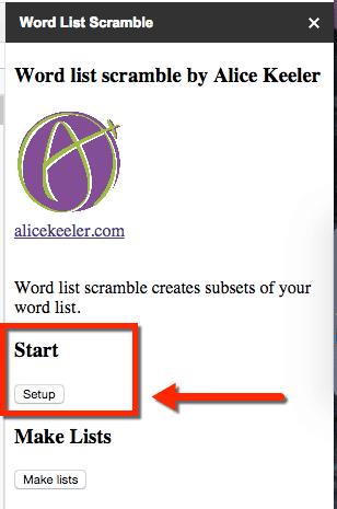 Word list scramble setup
