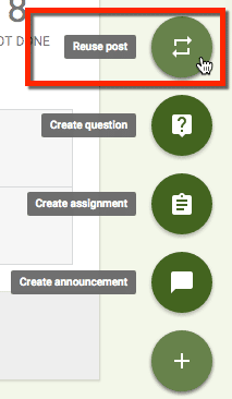 Reuse post in google classroom