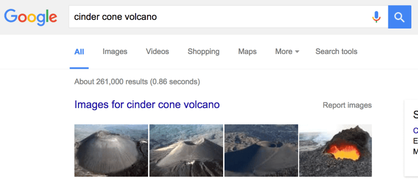 Google search for cinder cone volcano