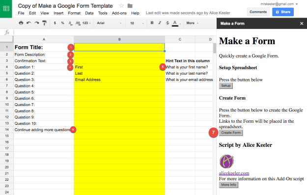 Create a google form spreadsheet template