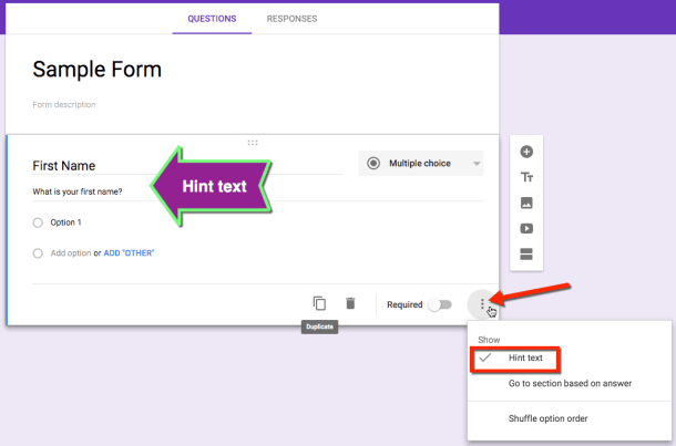 google forms hint text
