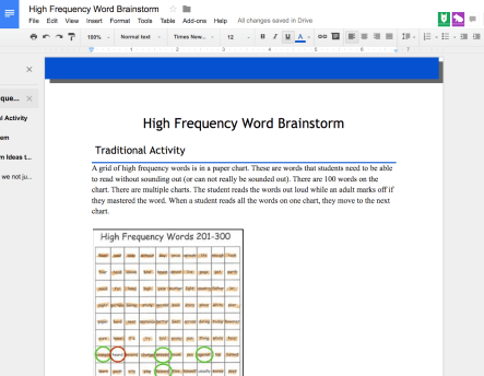 high frequency words brainstorm document