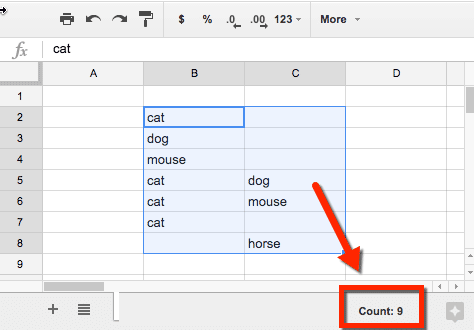 Count in Google Sheets