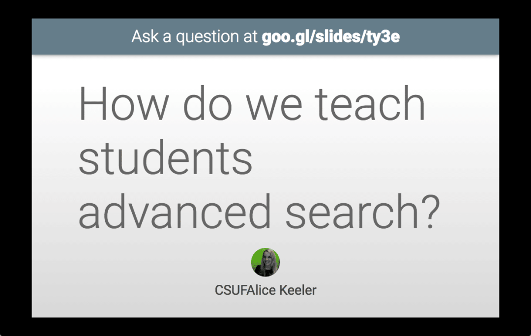 Google Slides present the question