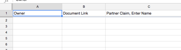 formatted spreadsheet with column headers