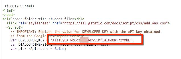 developer key